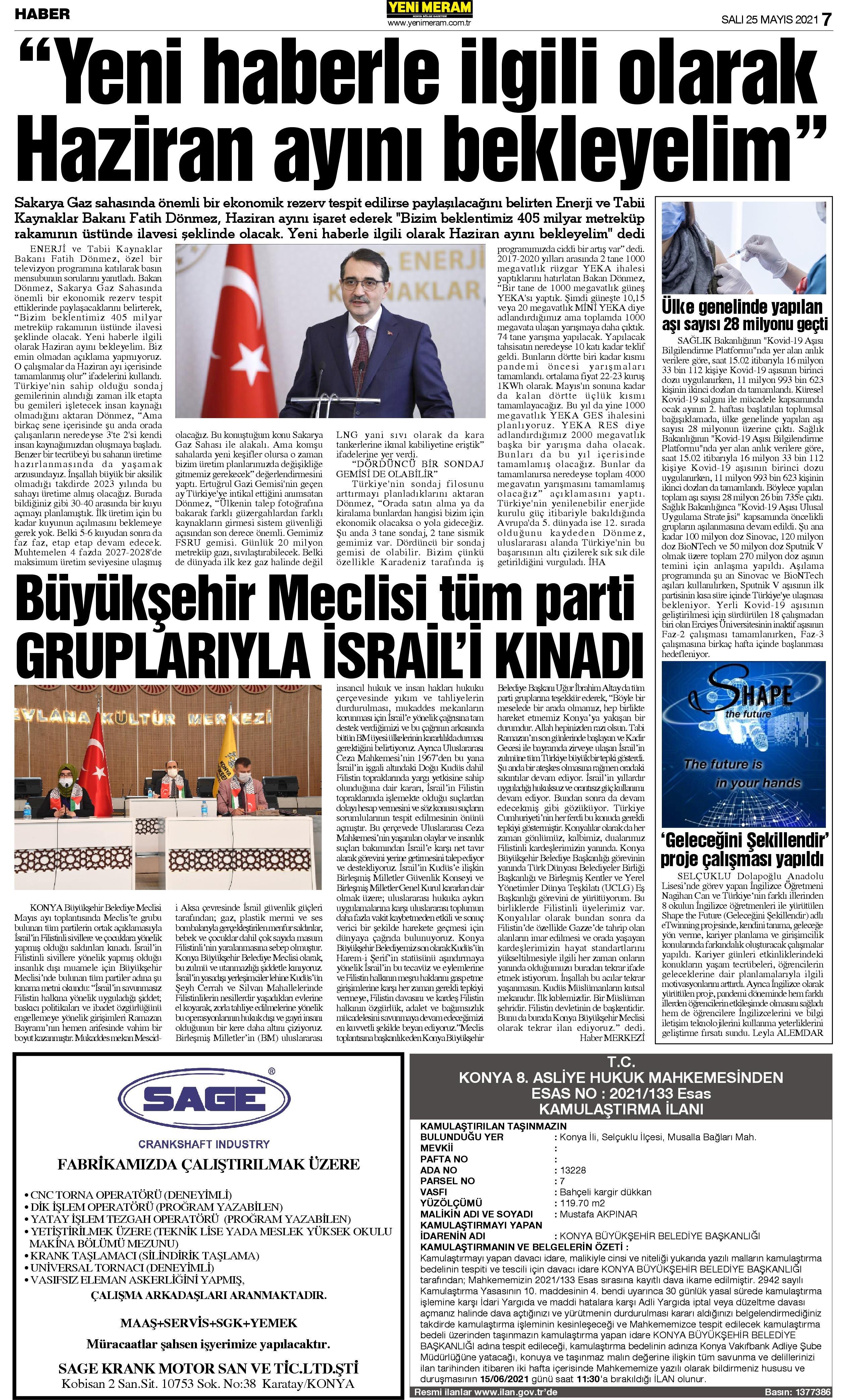 25 Mayıs 2021 Yeni Meram Gazetesi