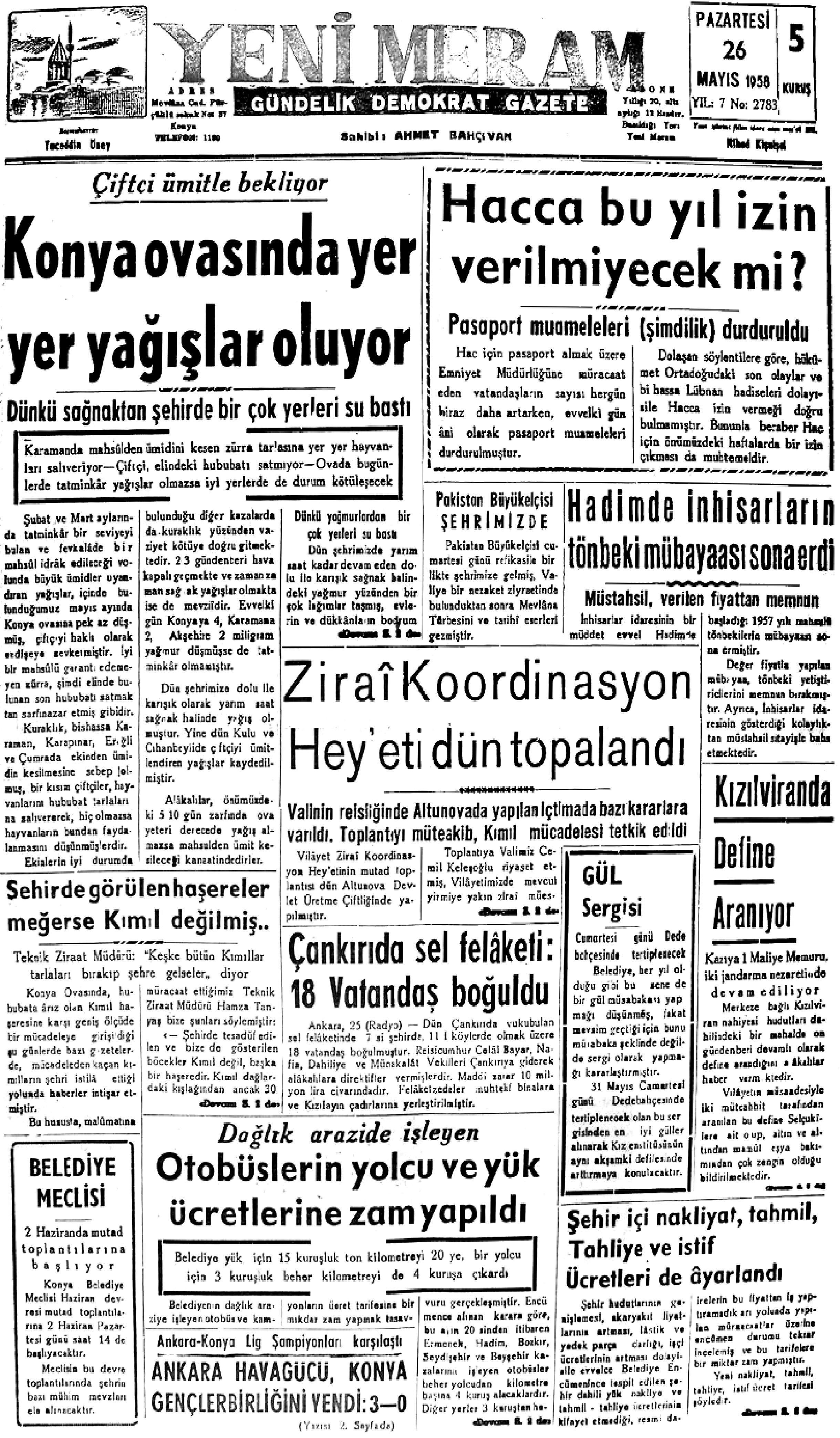 26 Mayıs 2021 Yeni Meram Gazetesi