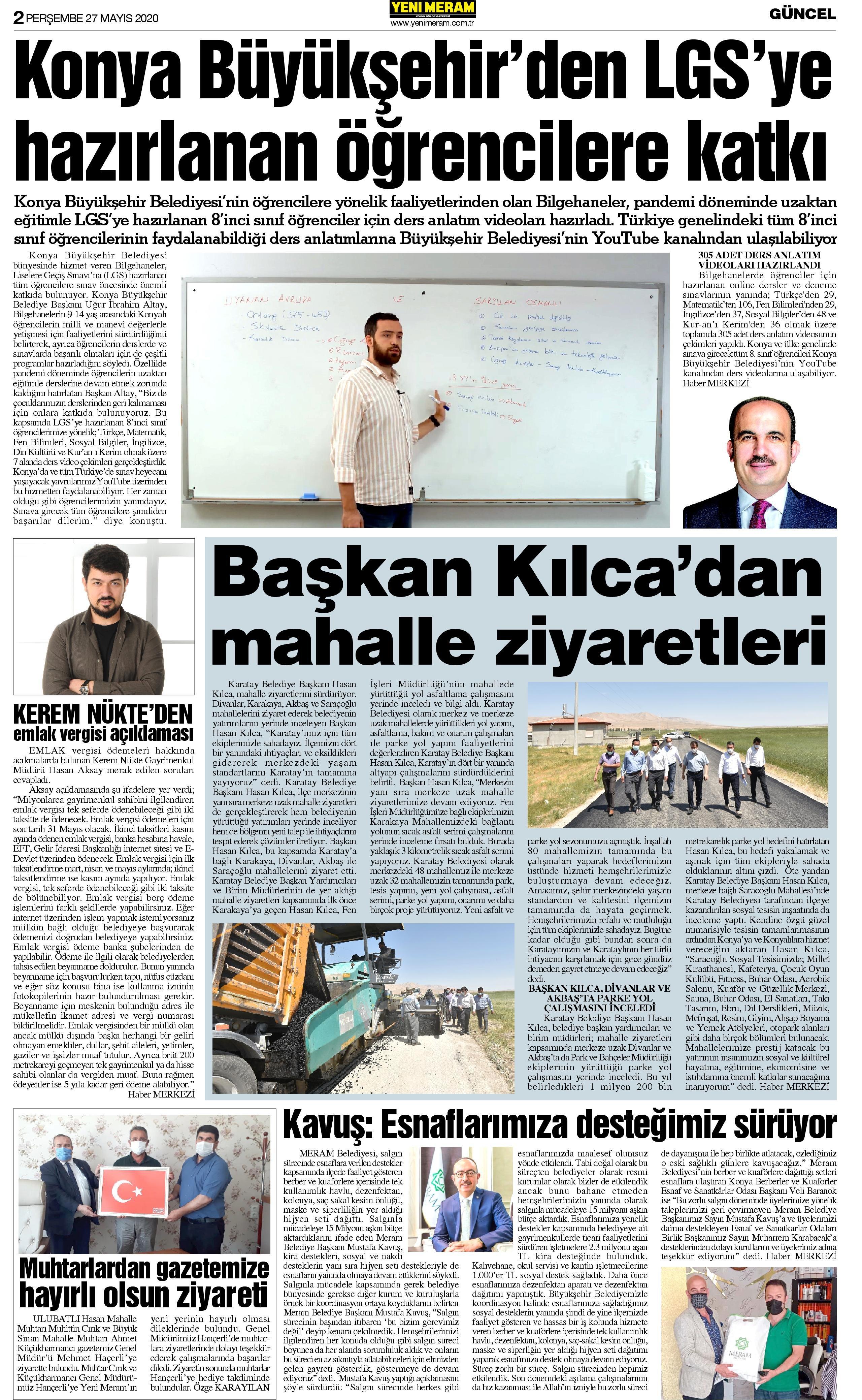 27 Mayıs 2021 Yeni Meram Gazetesi