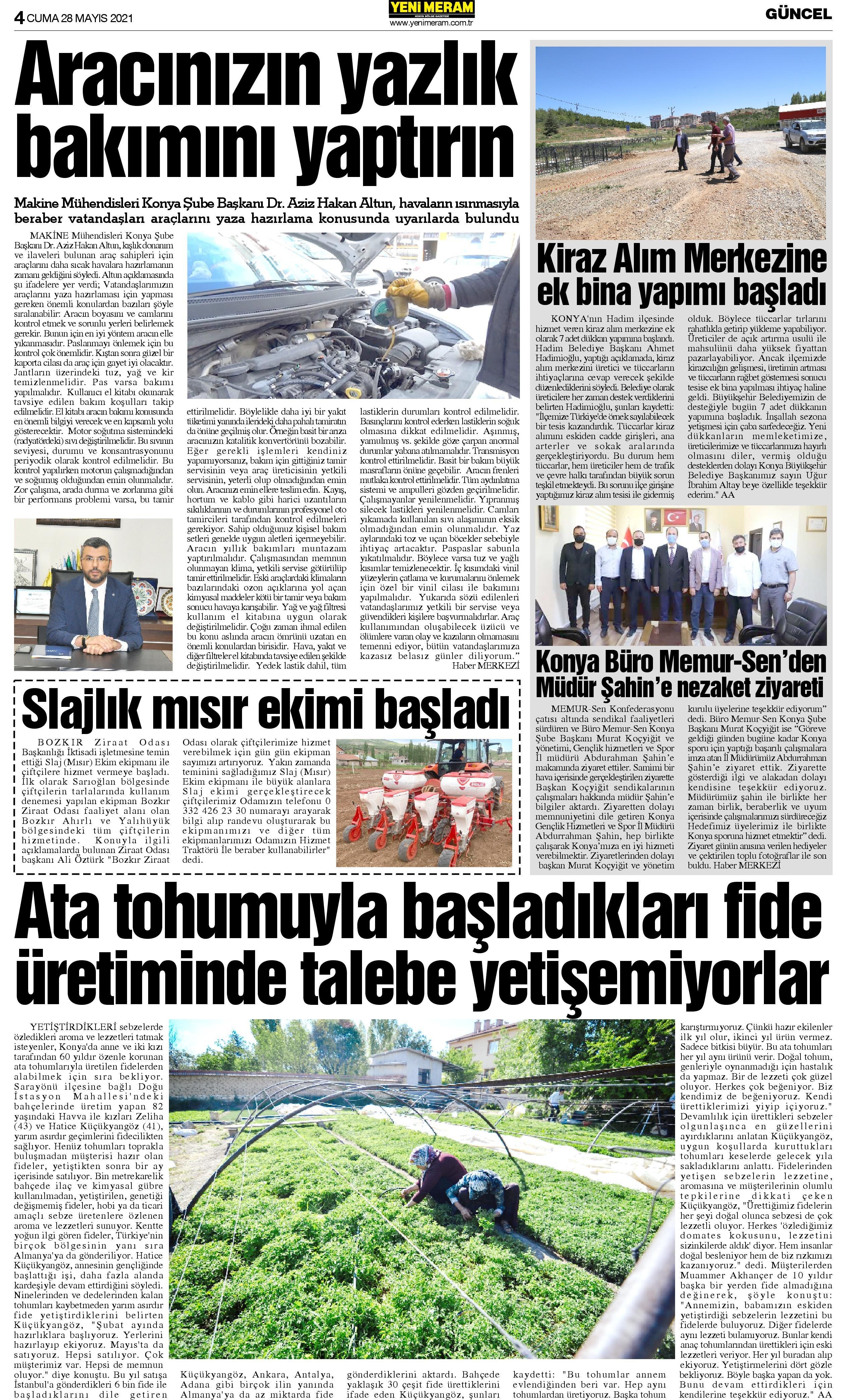 28 Mayıs 2021 Yeni Meram Gazetesi