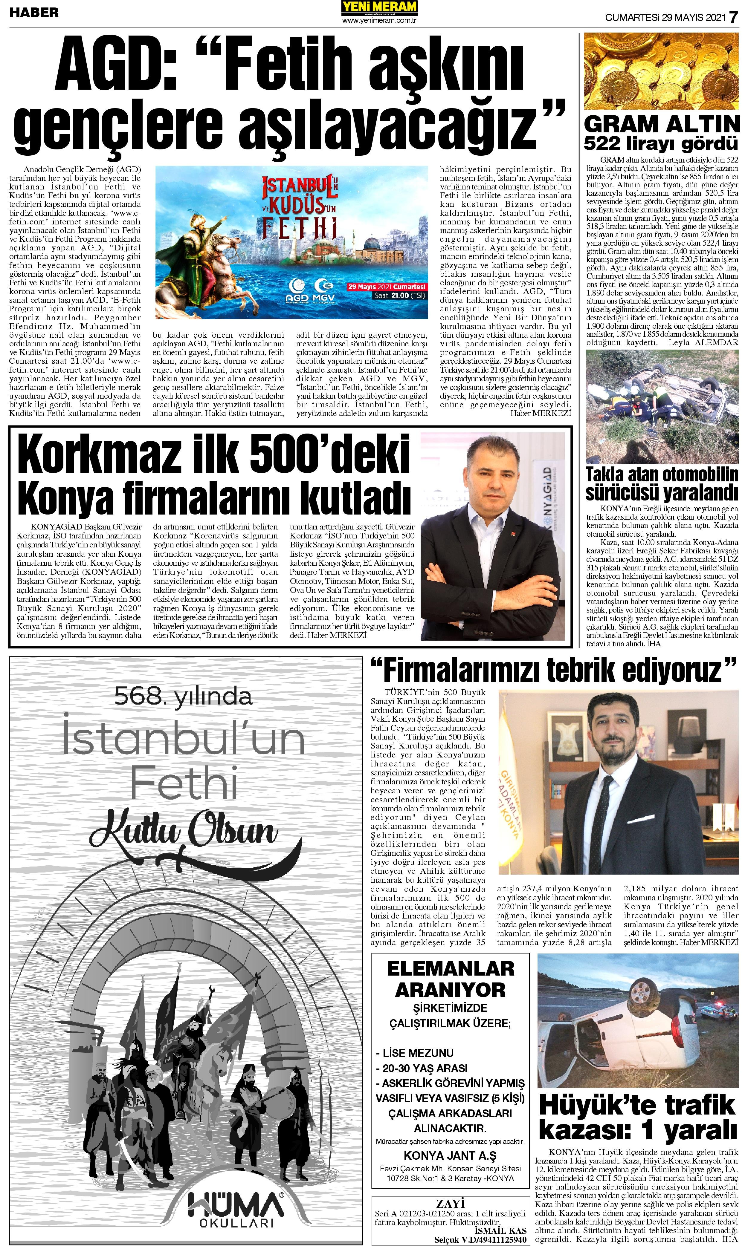 29 Mayıs 2021 Yeni Meram Gazetesi