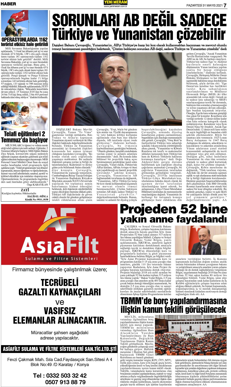 31 Mayıs 2021 Yeni Meram Gazetesi