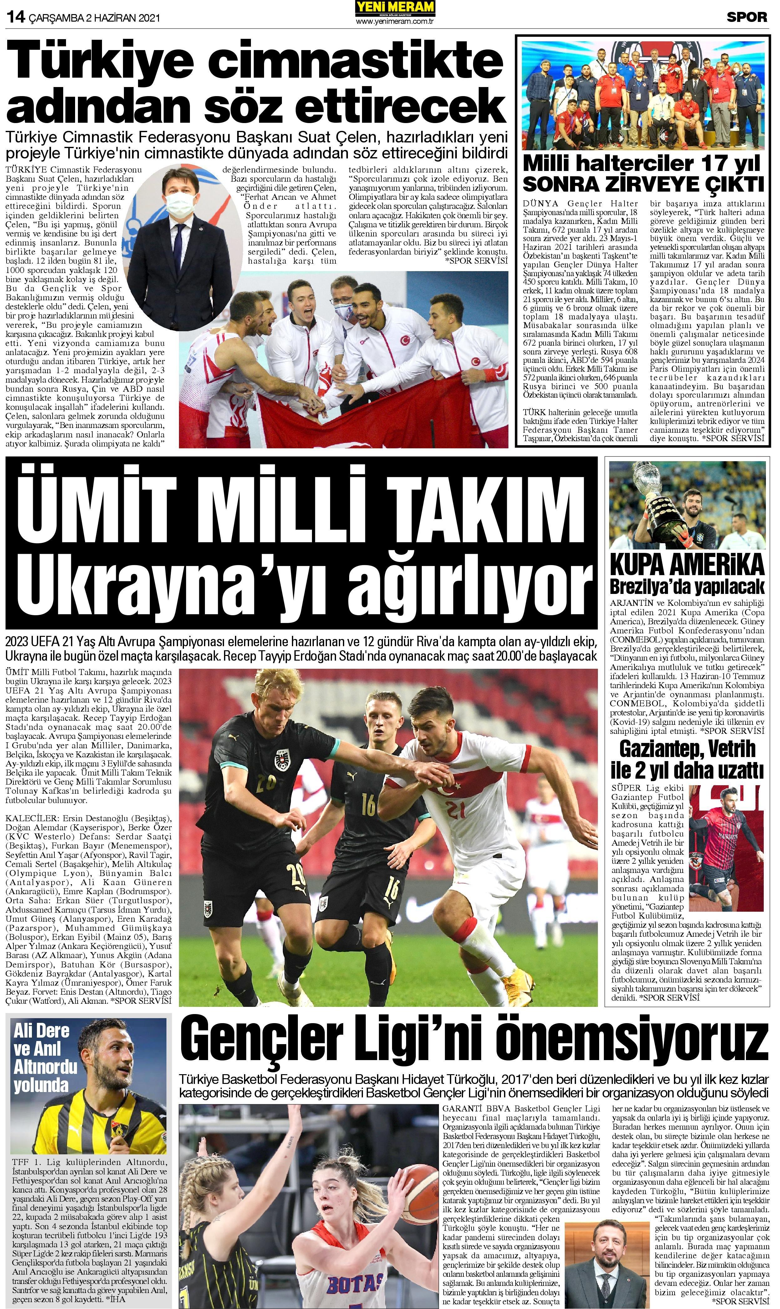 2 Haziran 2021 Yeni Meram Gazetesi