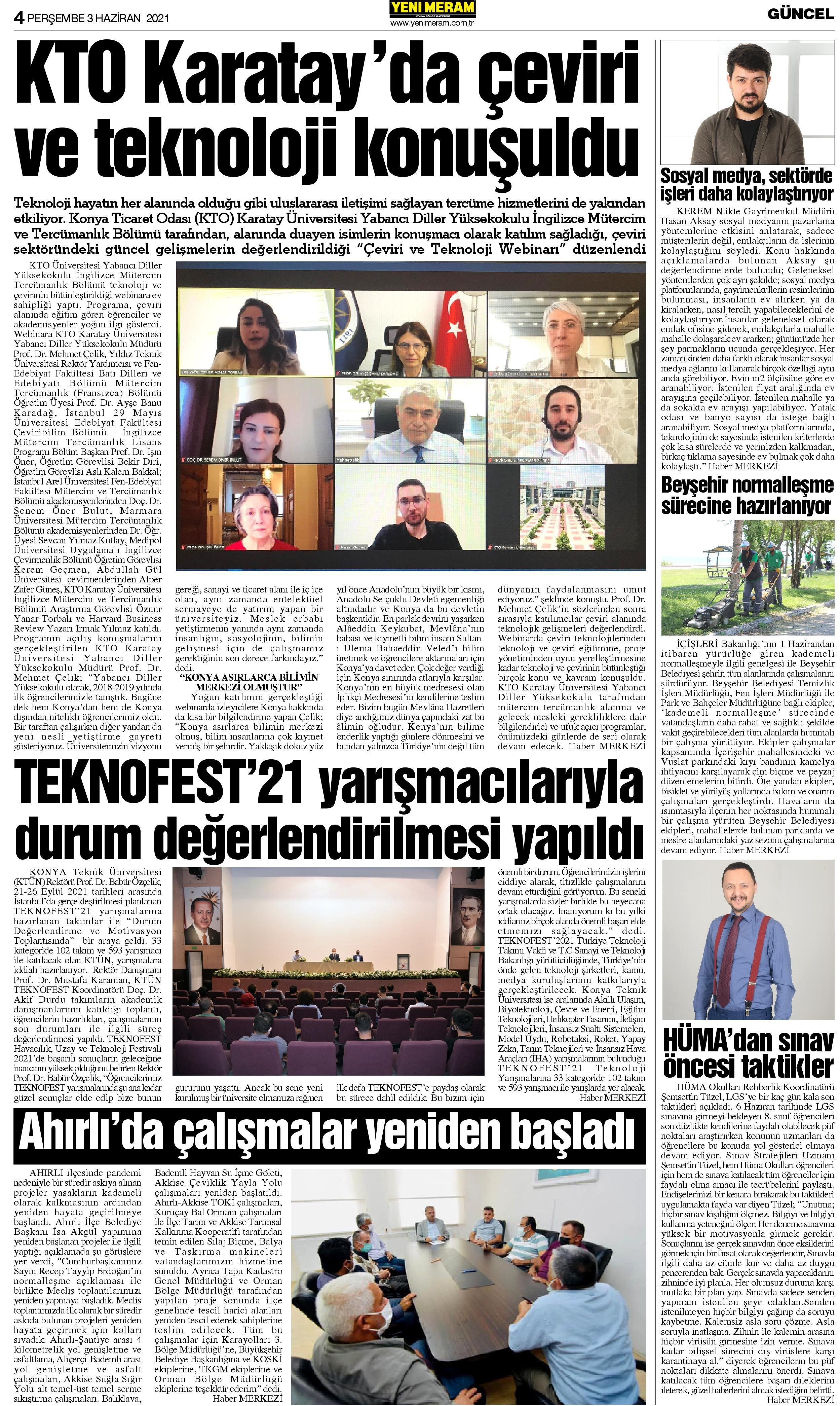 3 Haziran 2021 Yeni Meram Gazetesi
