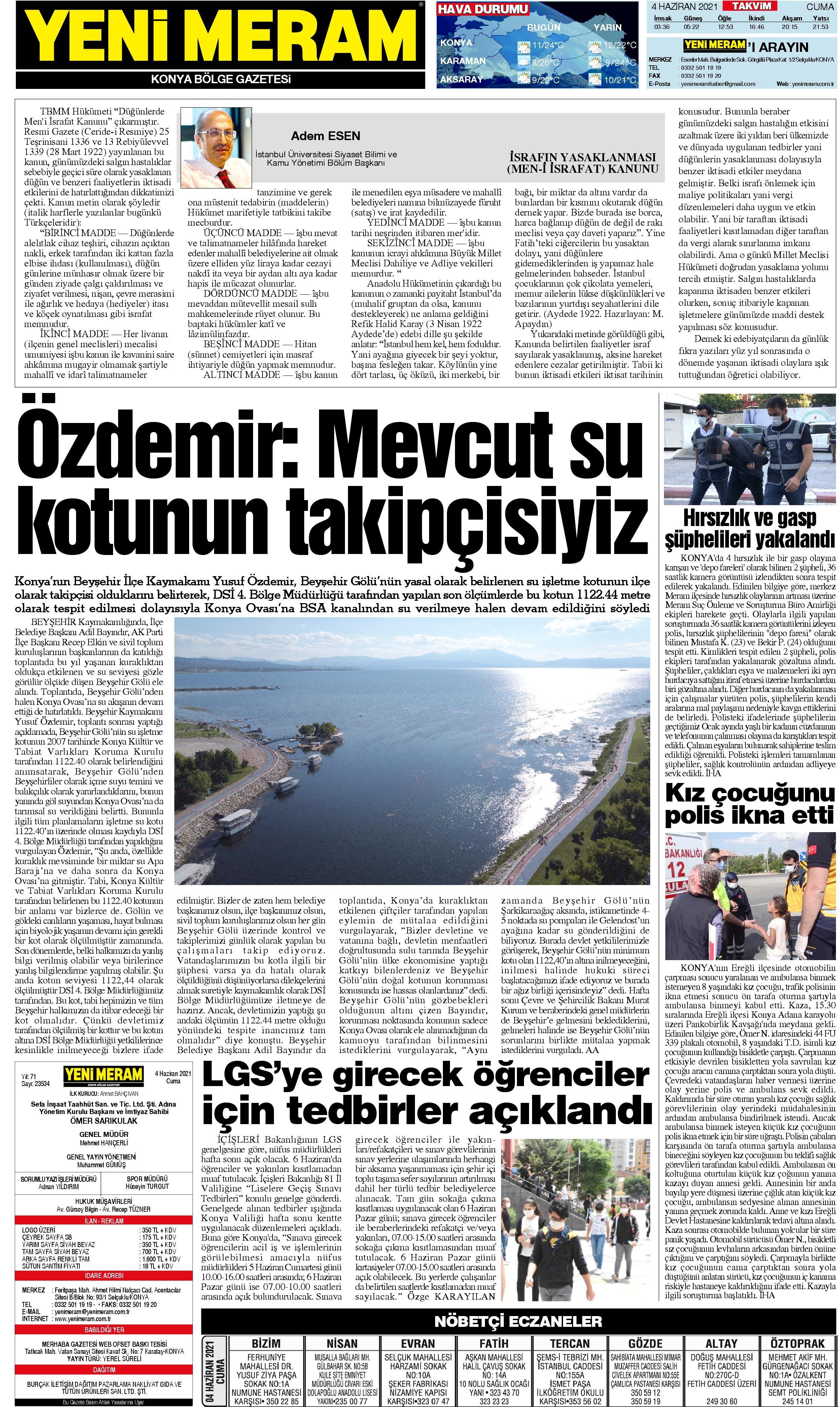 4 Haziran 2021 Yeni Meram Gazetesi