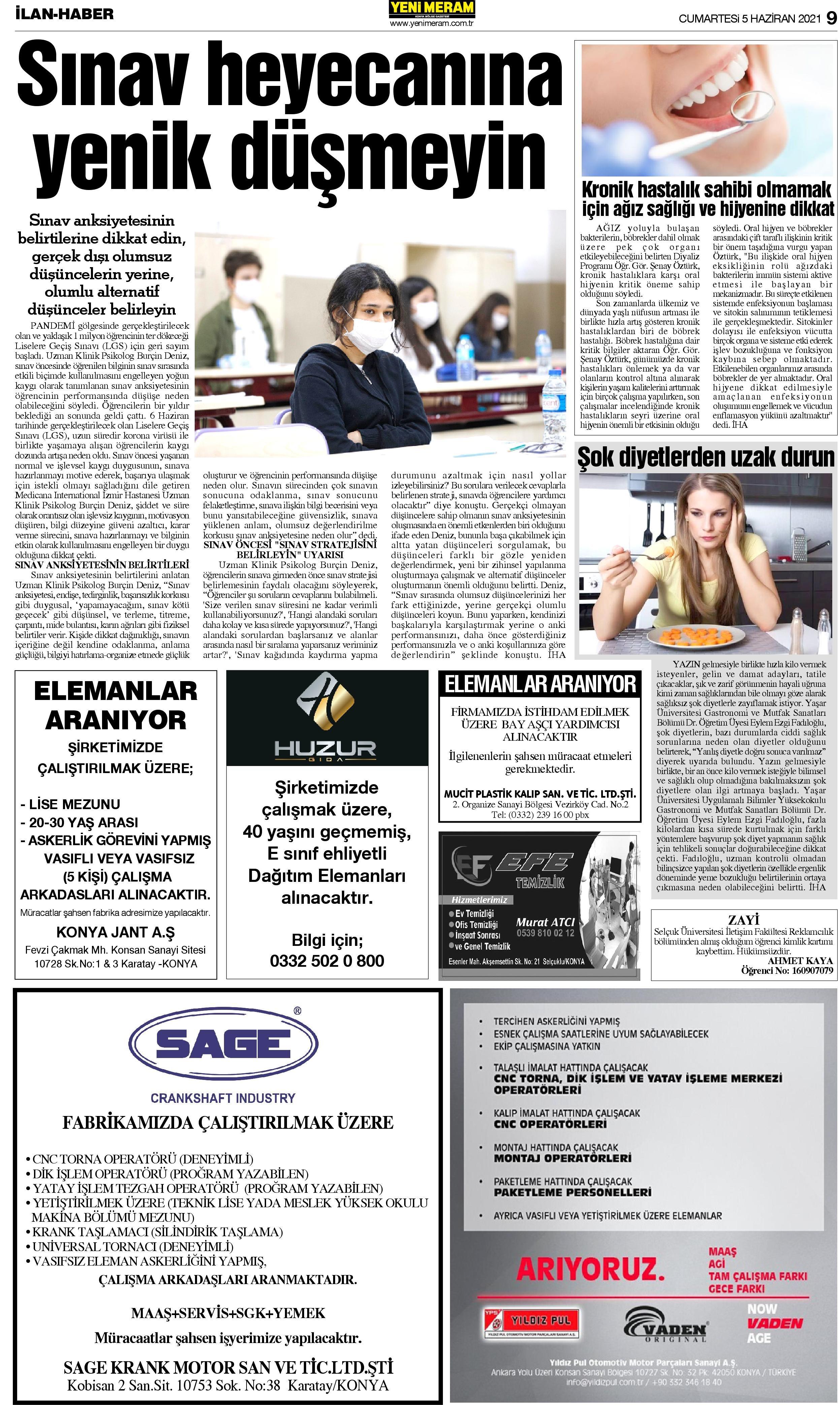 5 Haziran 2021 Yeni Meram Gazetesi