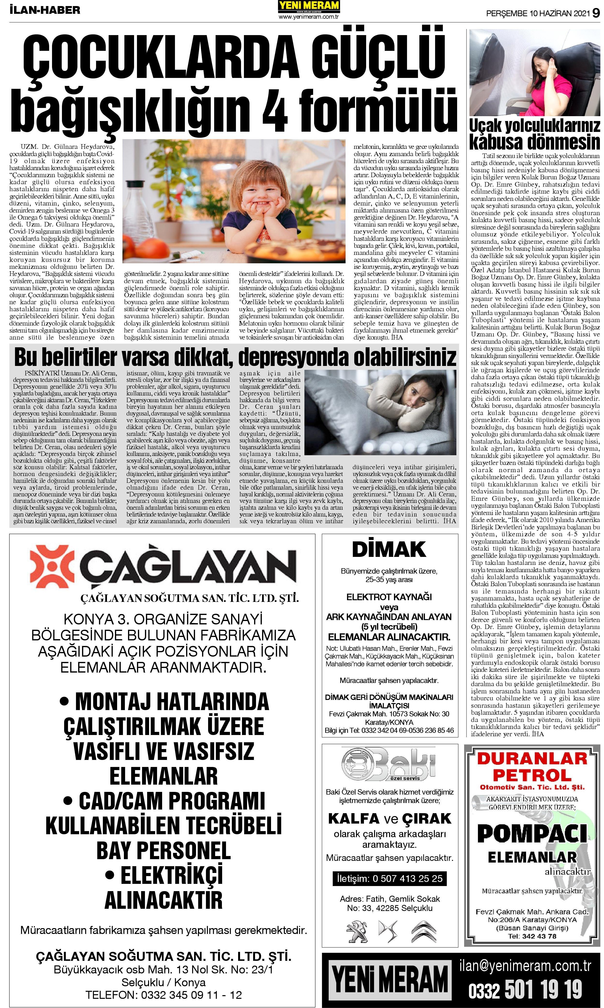 10 Haziran 2021 Yeni Meram Gazetesi