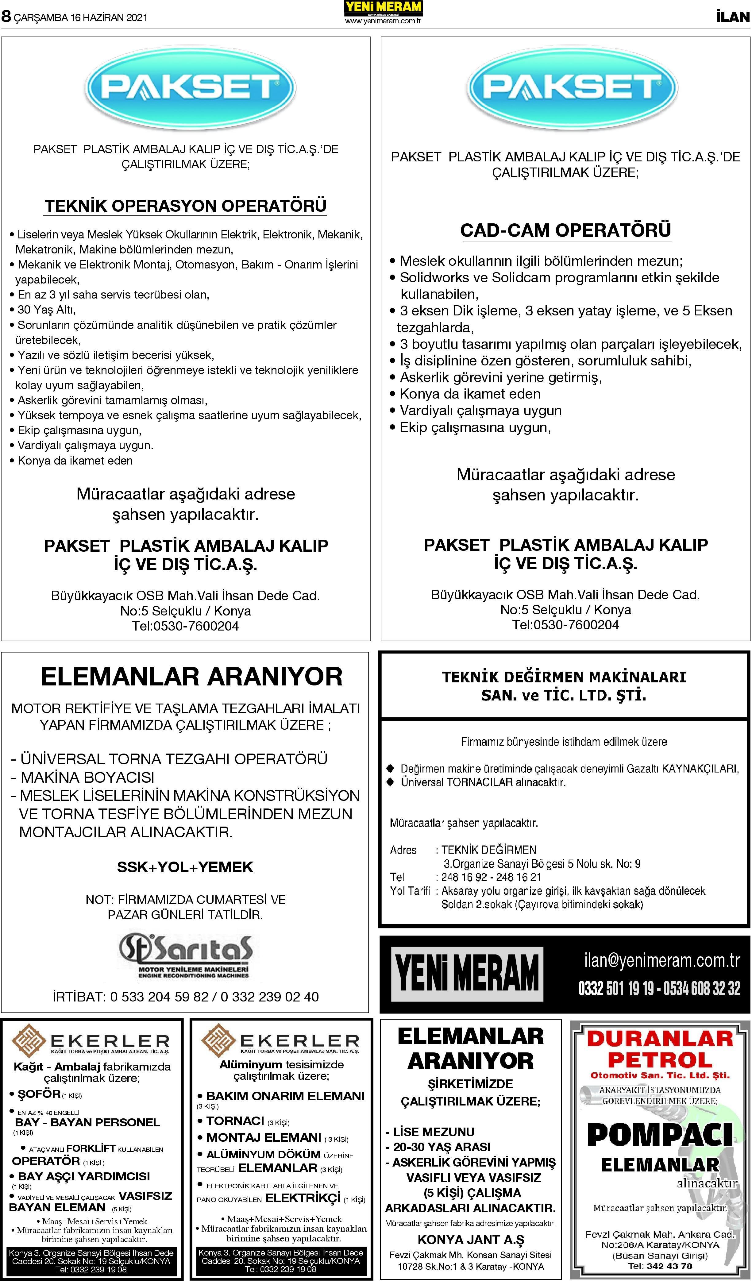 16 Haziran 2021 Yeni Meram Gazetesi