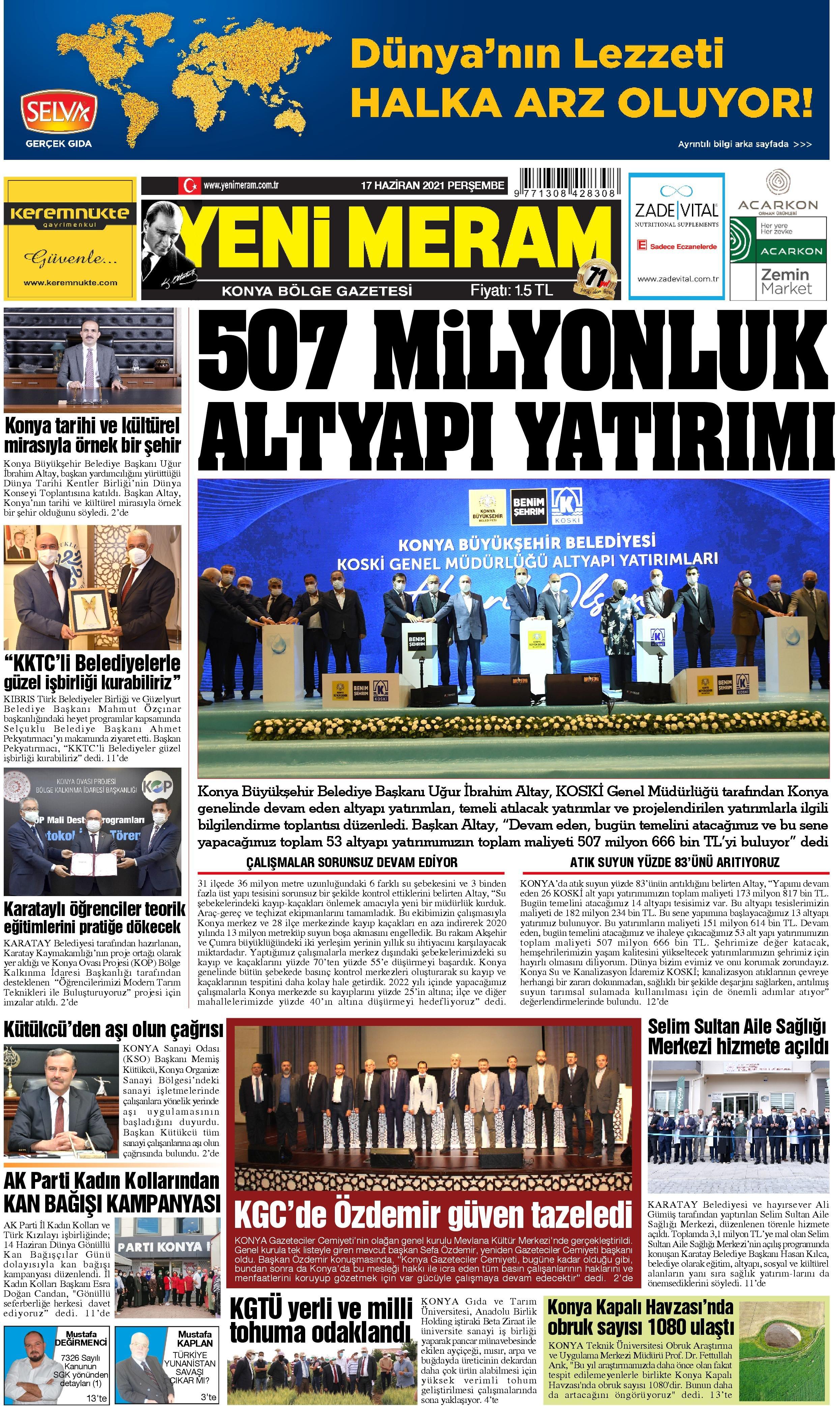 17 Haziran 2021 Yeni Meram Gazetesi