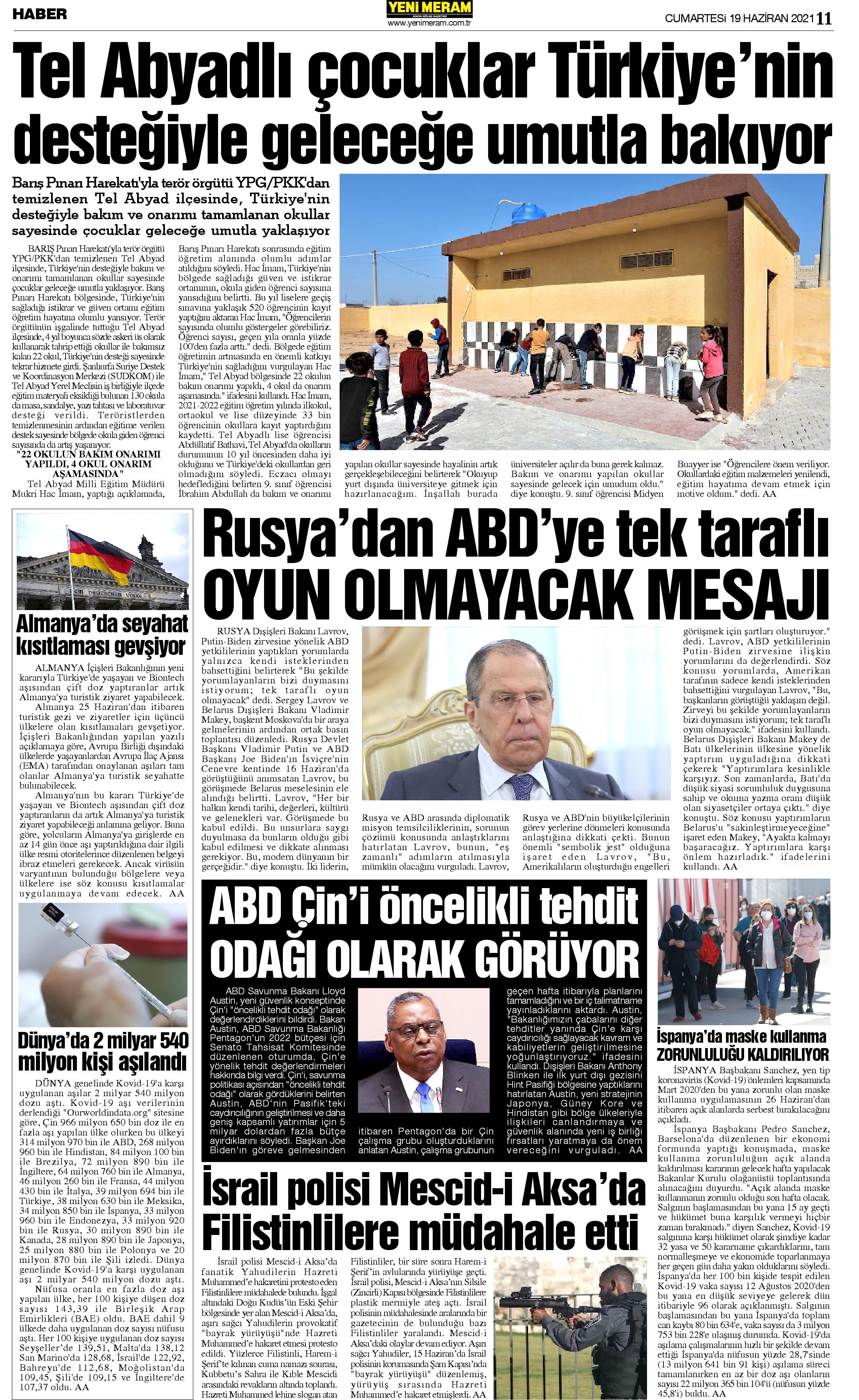 19 Haziran 2021 Yeni Meram Gazetesi