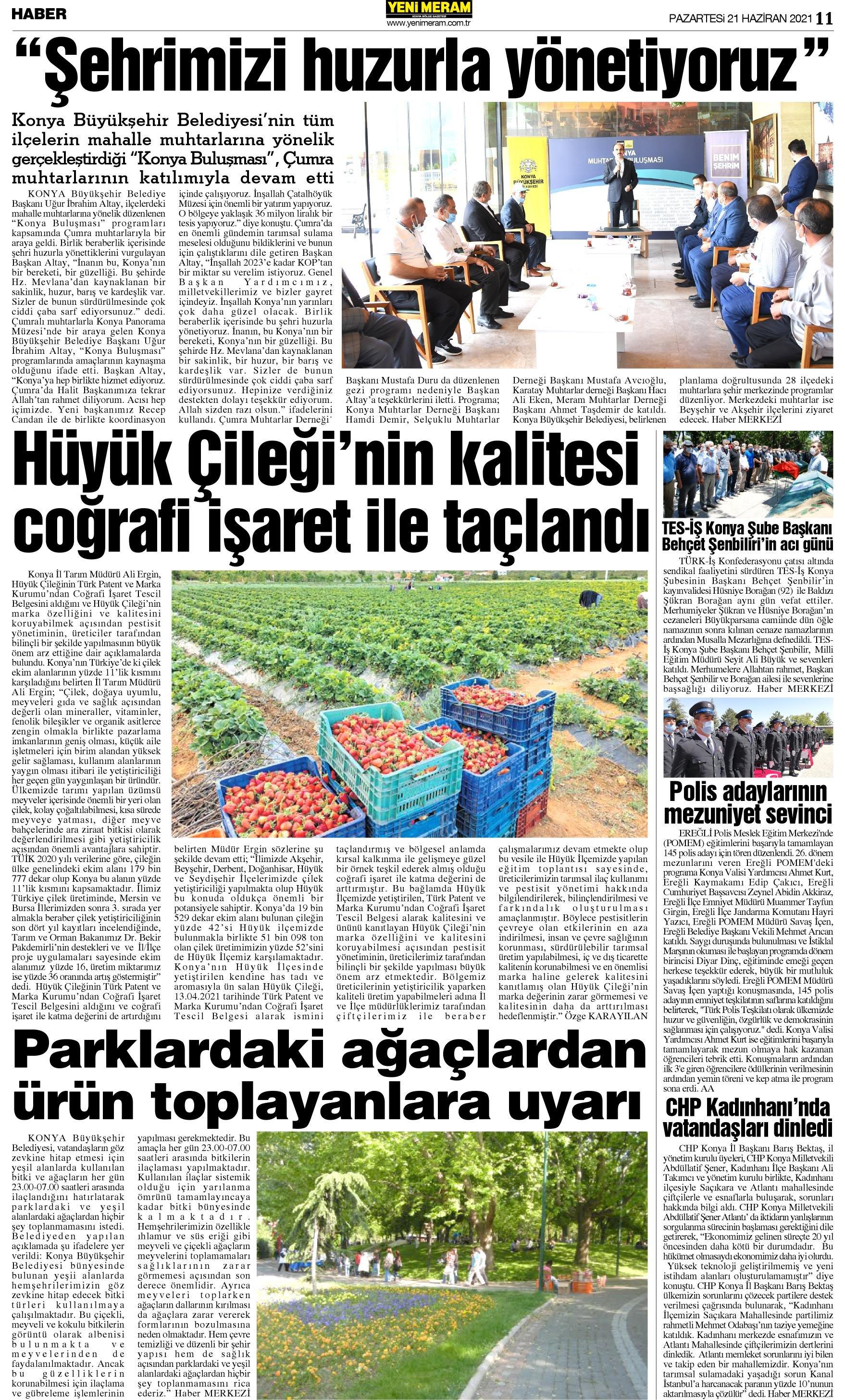 21 Haziran 2021 Yeni Meram Gazetesi
