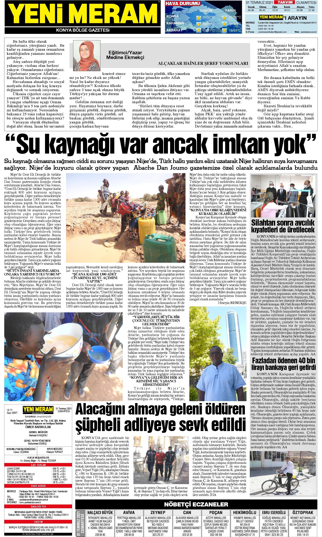 31 Temmuz 2021 Yeni Meram Gazetesi