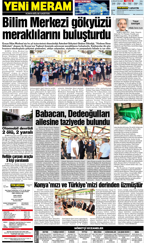 3 Ağustos 2021 Yeni Meram Gazetesi