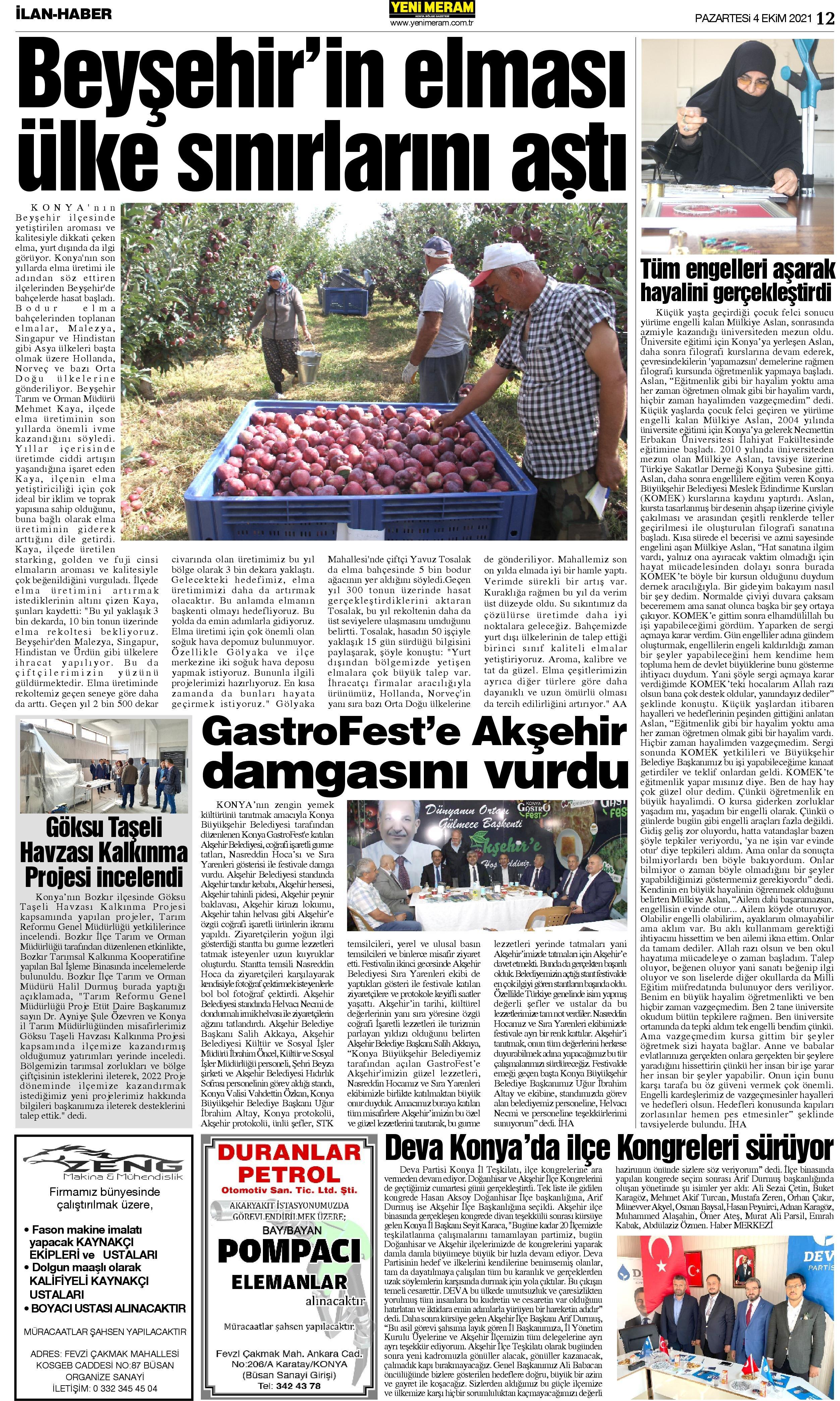 4 Ekim 2021 Yeni Meram Gazetesi