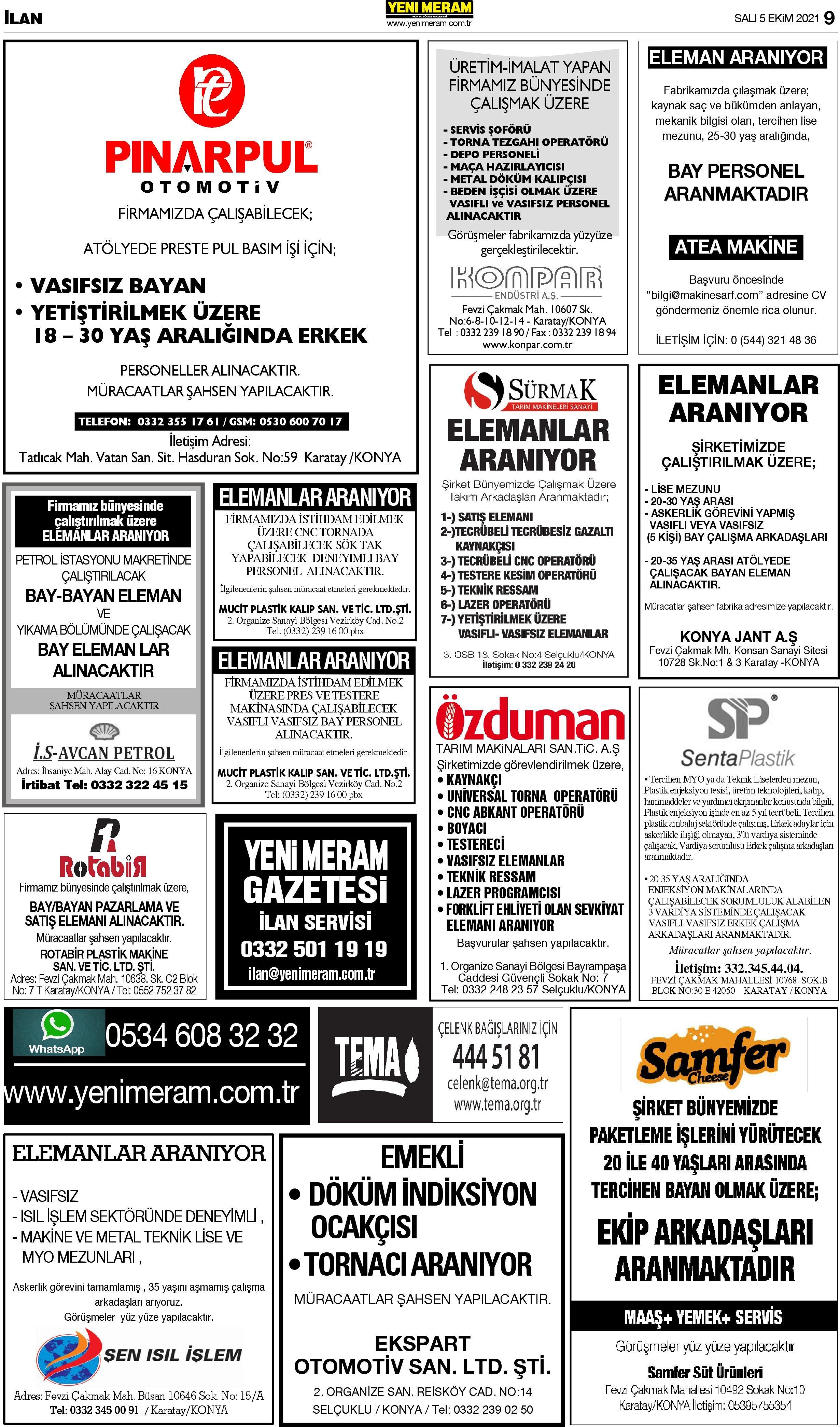 5 Ekim 2021 Yeni Meram Gazetesi