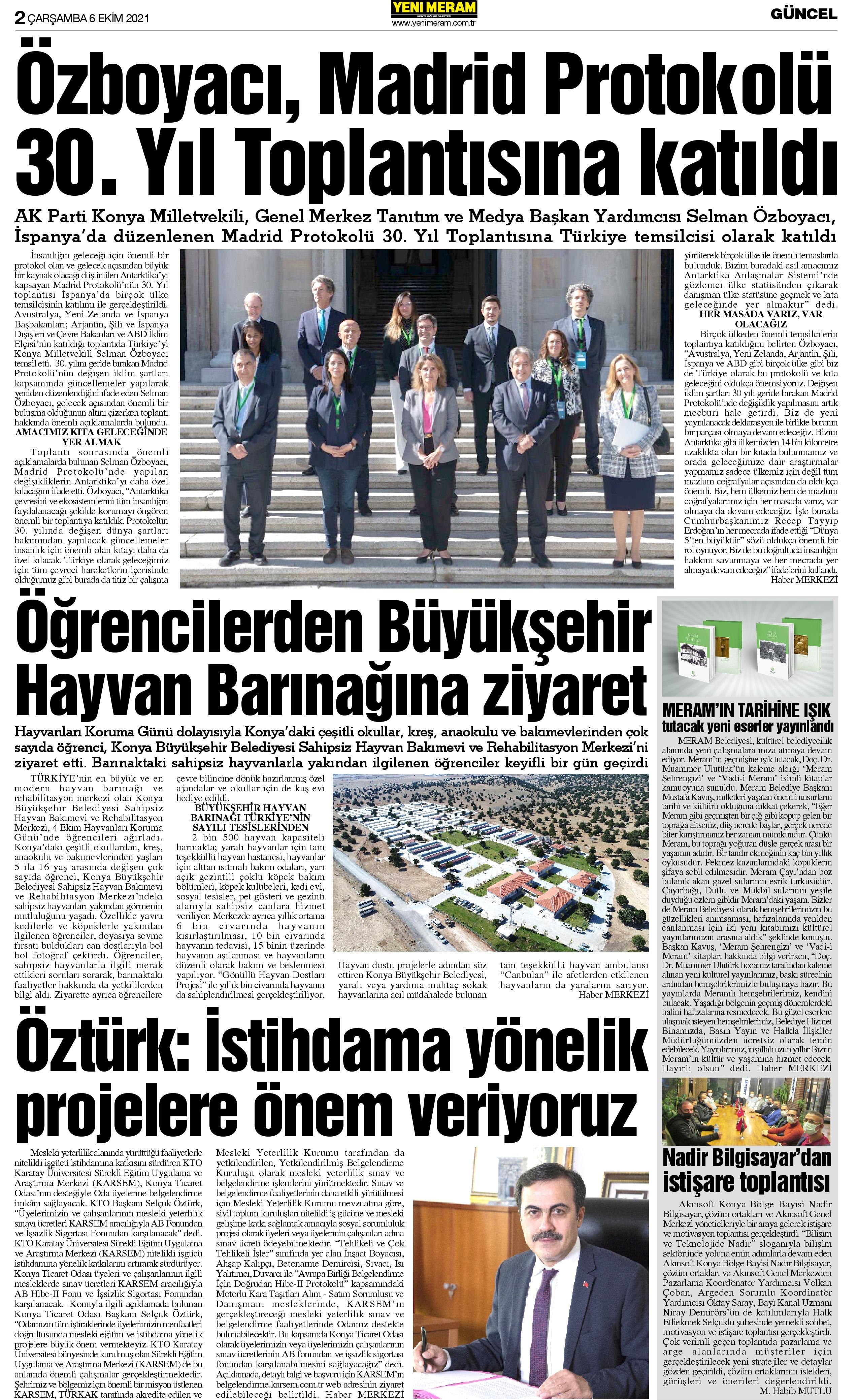 6 Ekim 2021 Yeni Meram Gazetesi