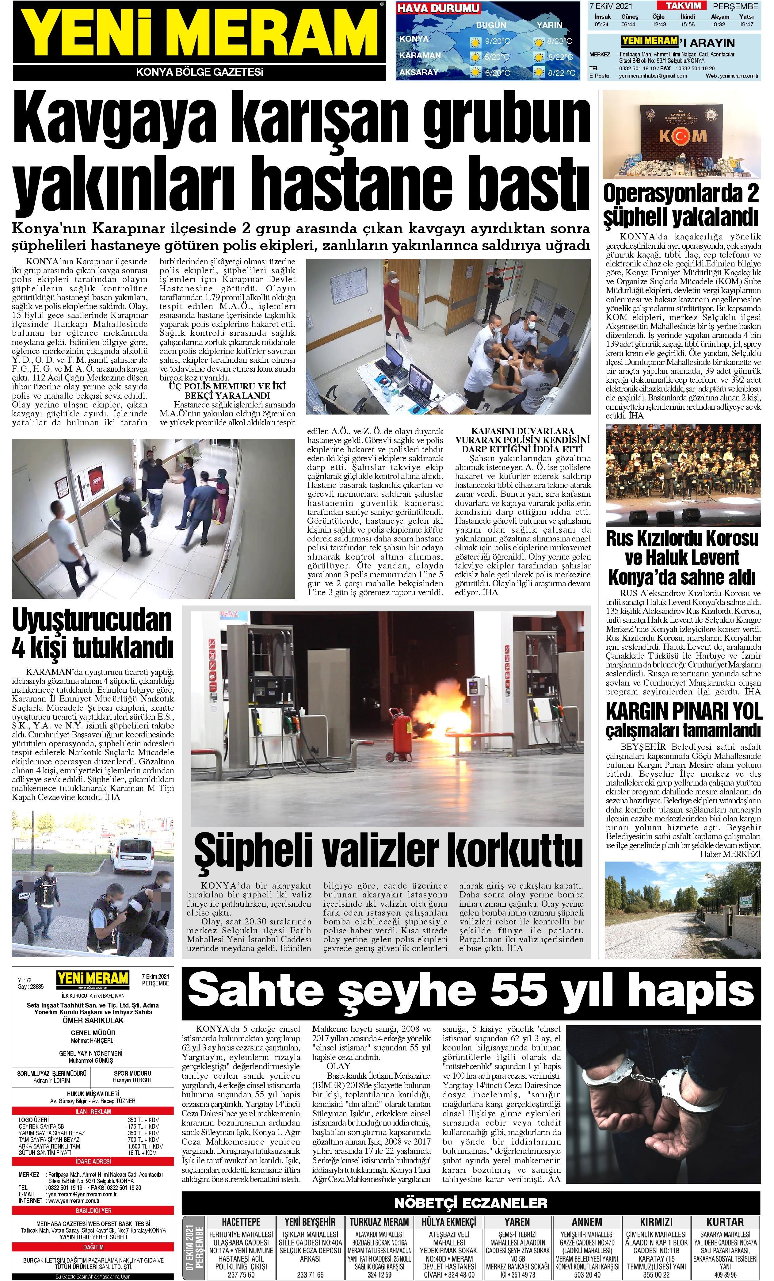 7 Ekim 2021 Yeni Meram Gazetesi