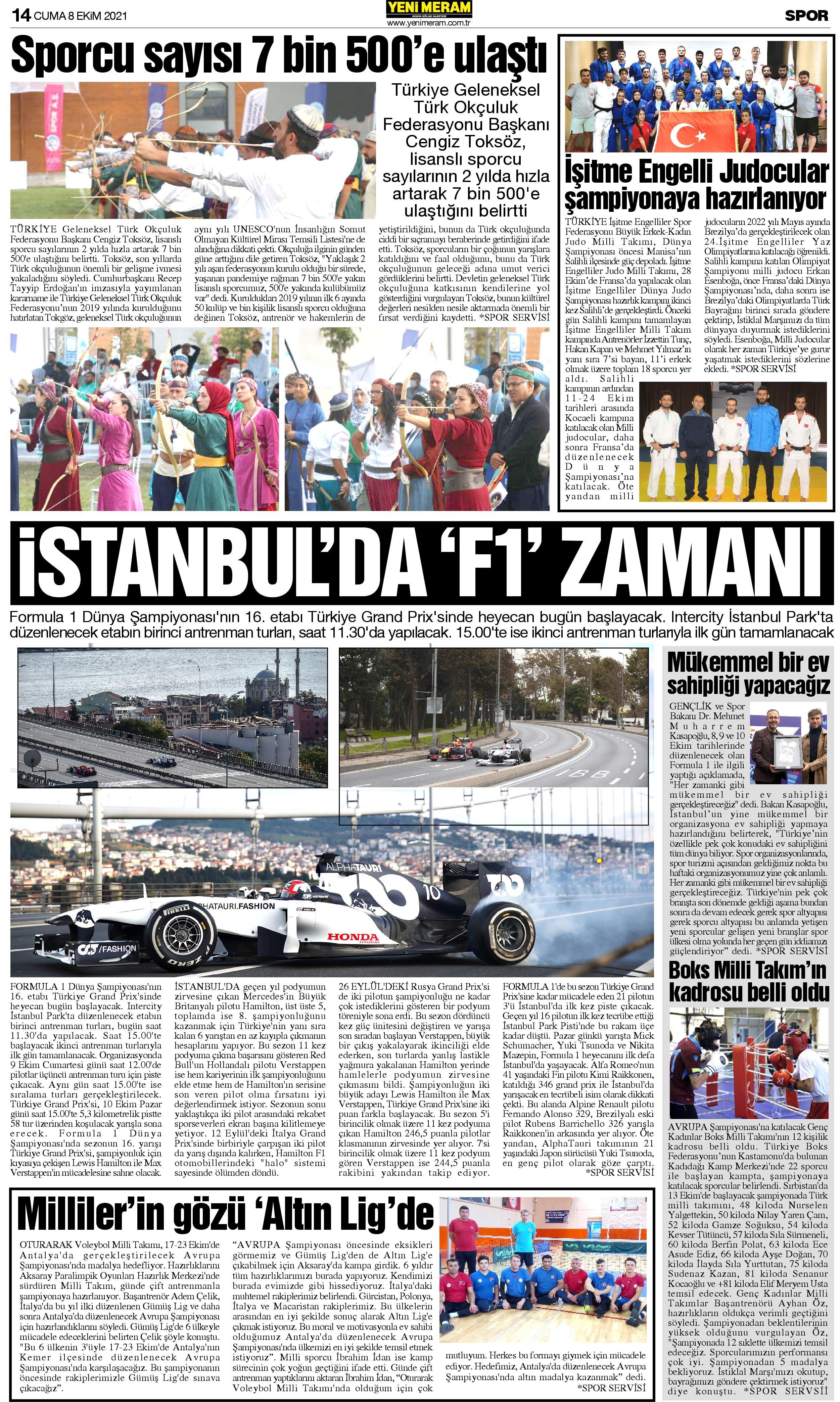 8 Ekim 2021 Yeni Meram Gazetesi
