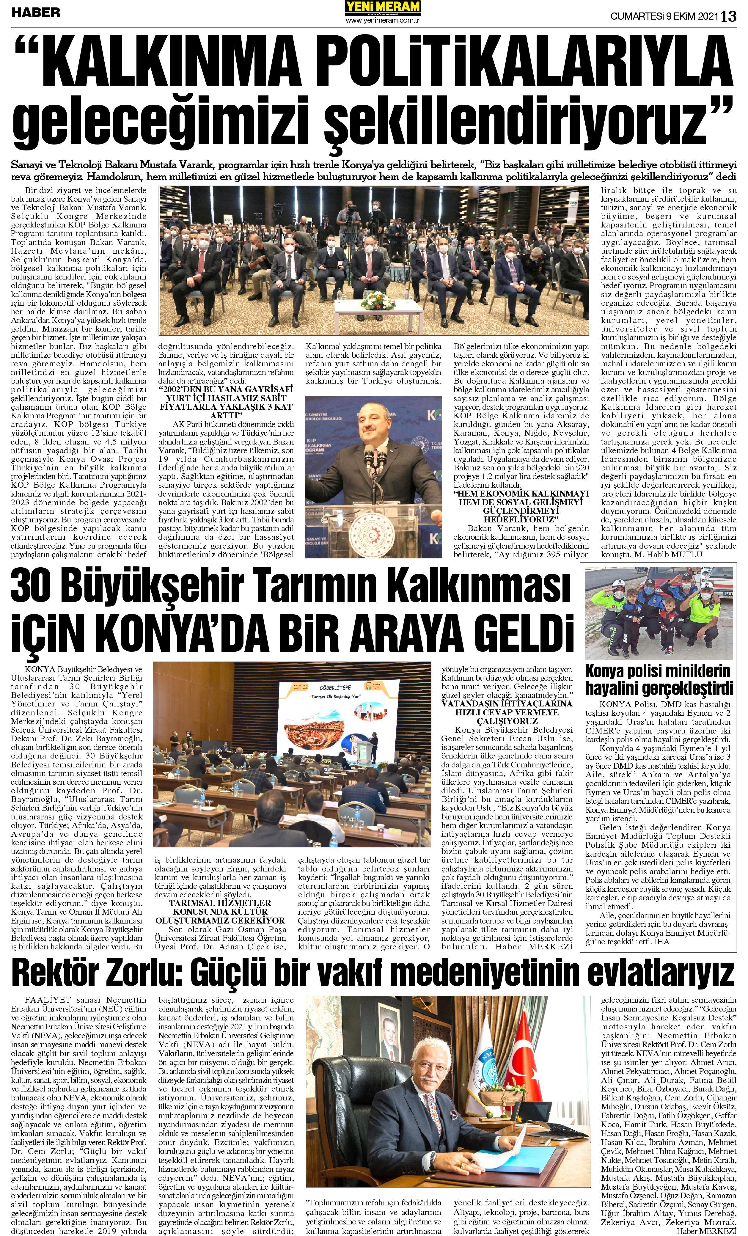 9 Ekim 2021 Yeni Meram Gazetesi