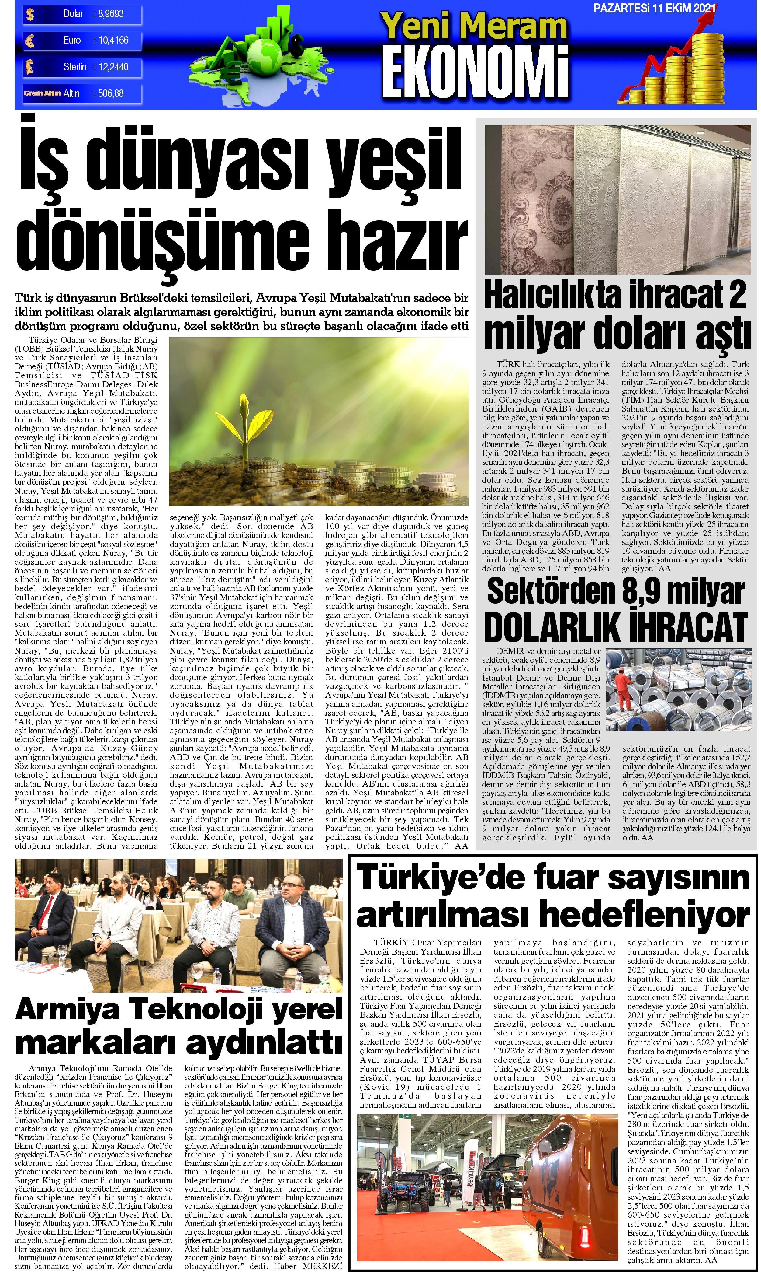 11 Ekim 2021 Yeni Meram Gazetesi