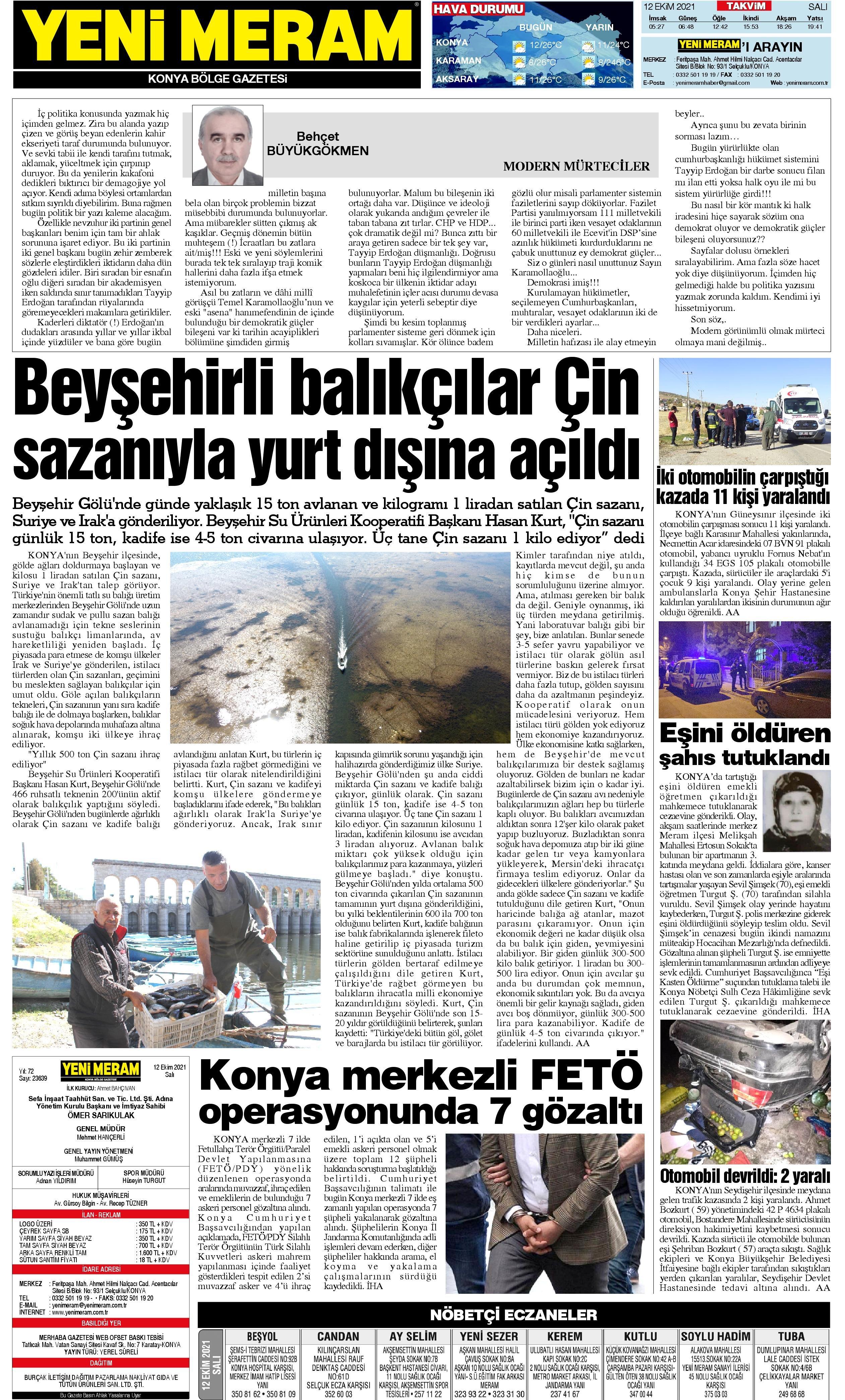12 Ekim 2021 Yeni Meram Gazetesi
