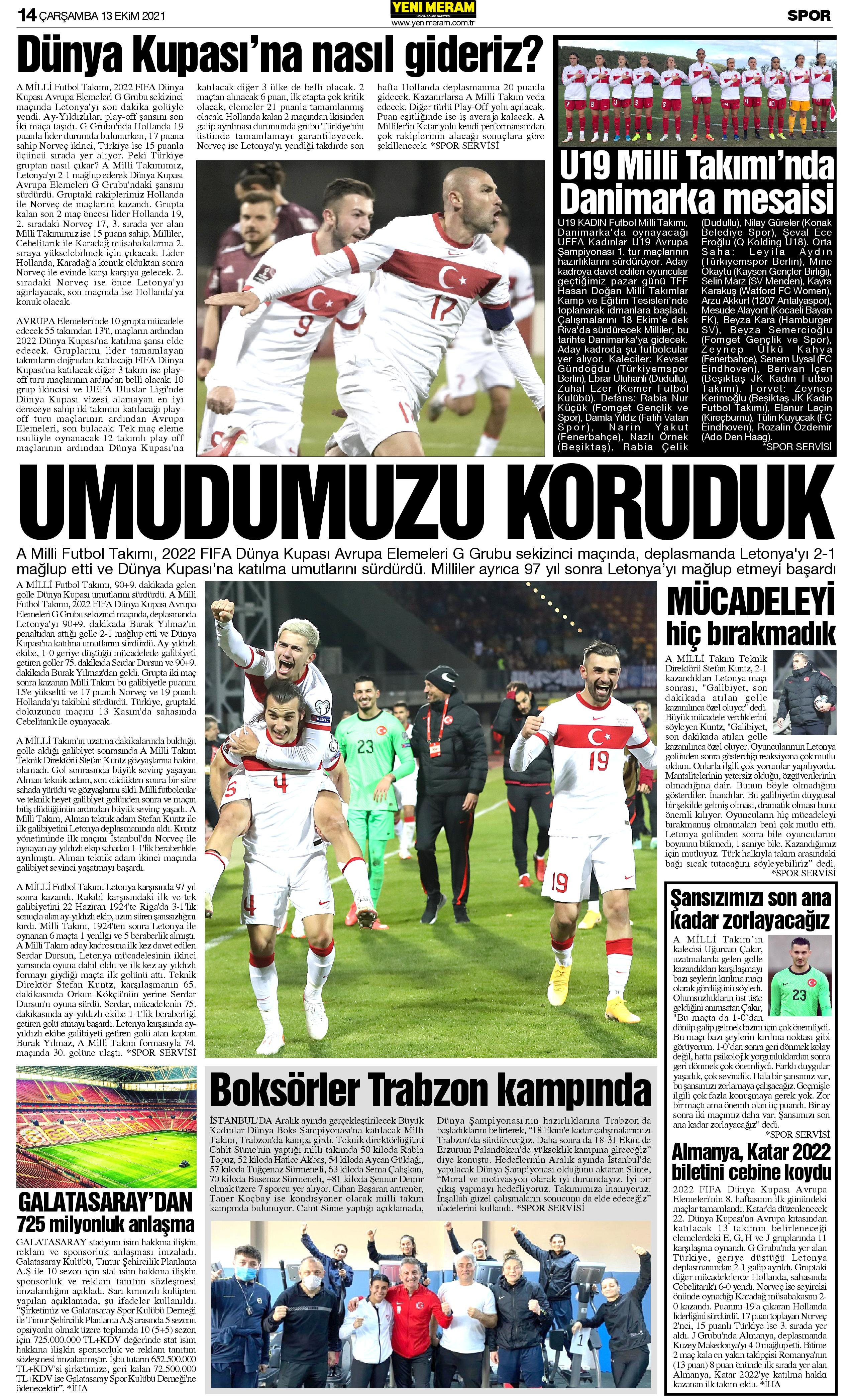 13 Ekim 2021 Yeni Meram Gazetesi