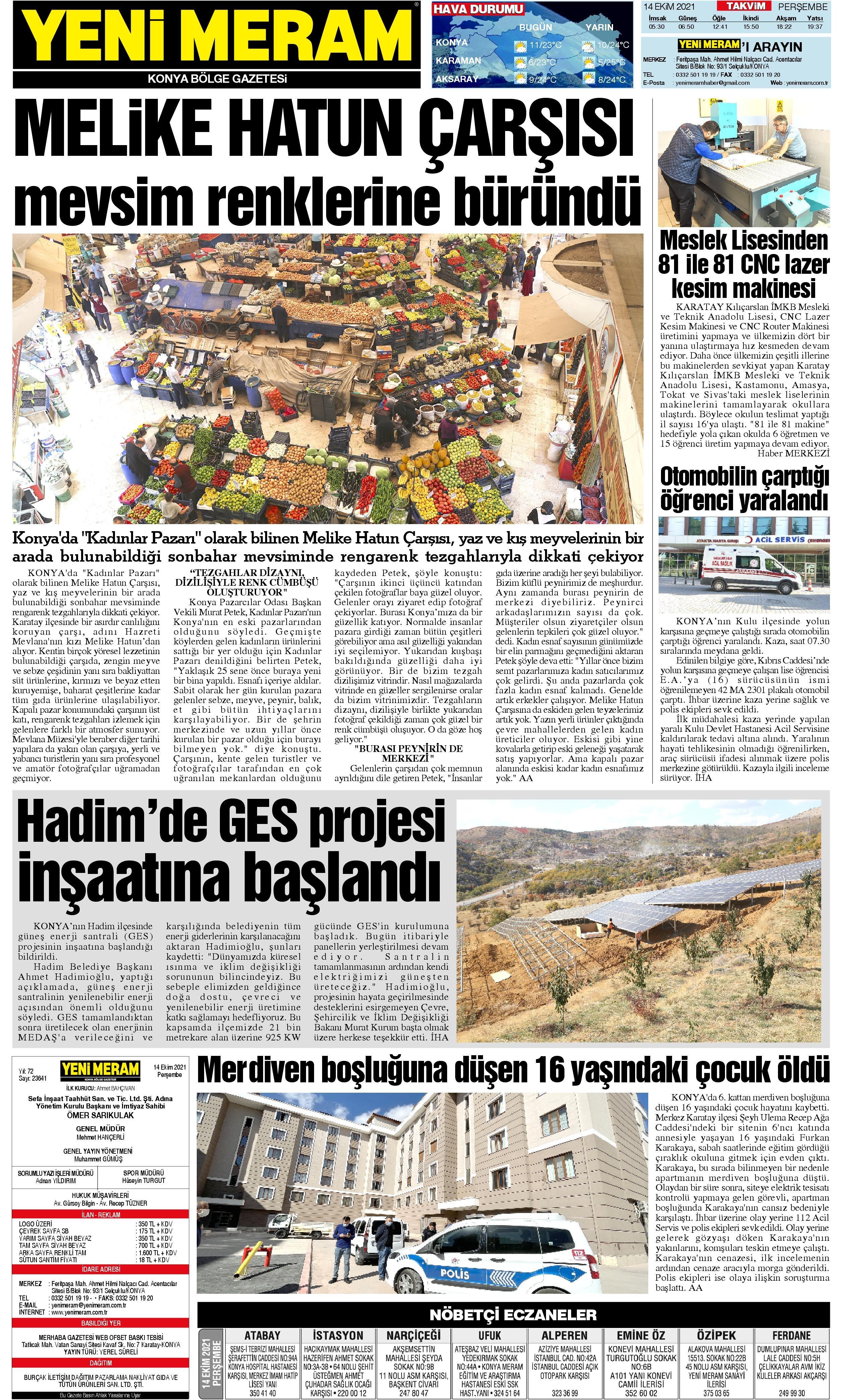 14 Ekim 2021 Yeni Meram Gazetesi